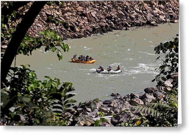 Cartoon - 2 Rafts Close To Each Other In The Fast Moving Ganga River Near Rishikesh Greeting Card