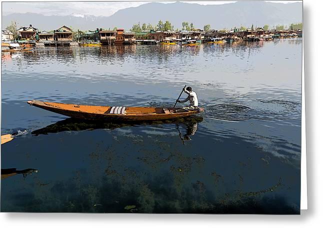 Cartoon - Boat Among The Weeds - Man Rowing His Boat In The Dal Lake In Srinagar Greeting Card by Ashish Agarwal
