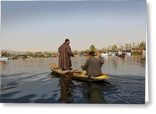 Cartoon - Kashmiri Men Plying A Wooden Boat In The Dal Lake In Srinagar Greeting Card
