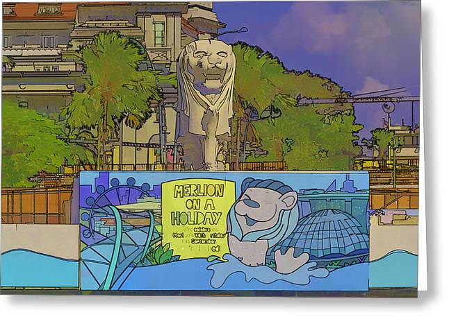 Cartoon - Statue Of The Merlion With A Banner Below The Statue Greeting Card by Ashish Agarwal