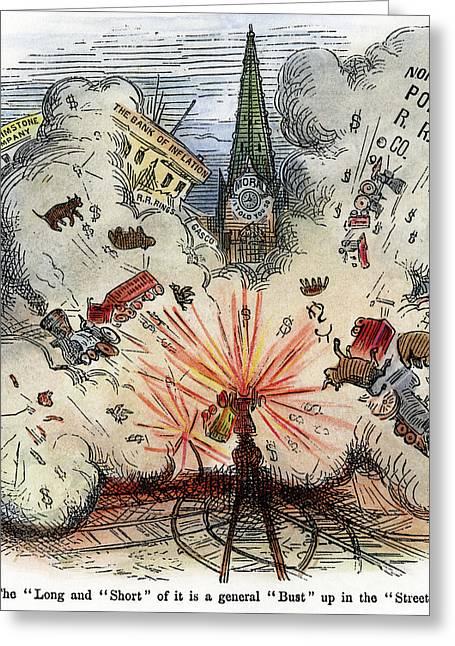 Cartoon Bank Panic, 1873 Greeting Card by Granger