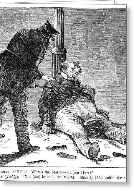 Cartoon Drunkenness, 1869 Greeting Card by Granger