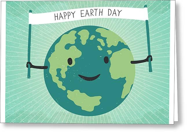 Cartoon Earth Illustration. Planet Greeting Card