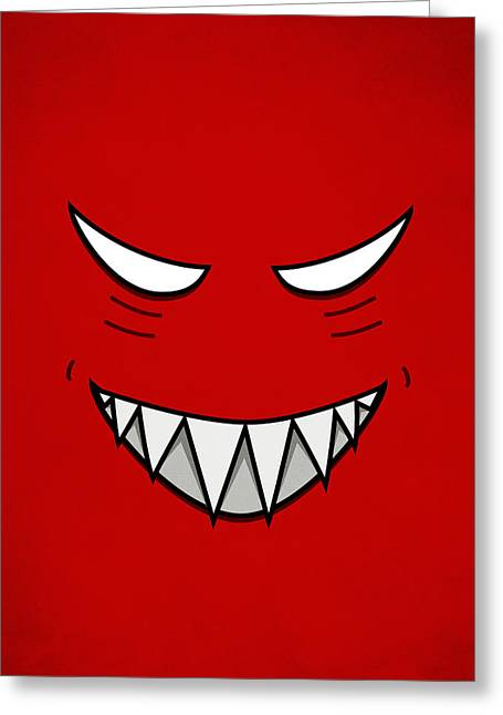 Cartoon Grinning Face With Evil Eyes Greeting Card