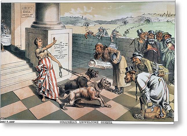 Cartoon Immigration, 1885 Greeting Card