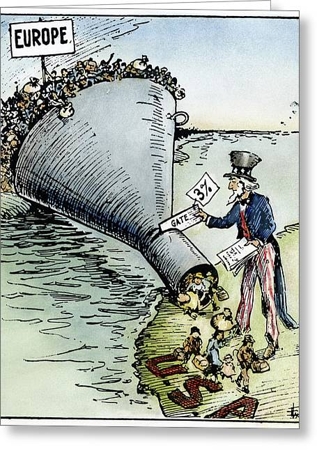 Cartoon Immigration, 1921 Greeting Card