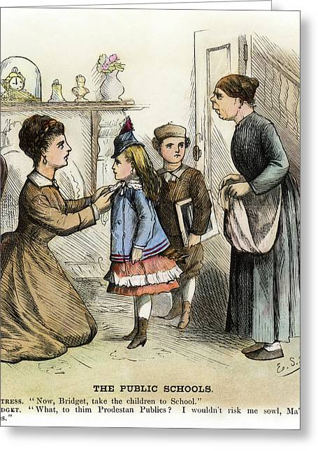 Cartoon Irish Immigrants, 1873 Greeting Card