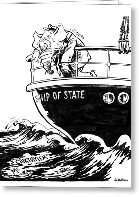 Cartoon Mccarthyism, 1954 Greeting Card