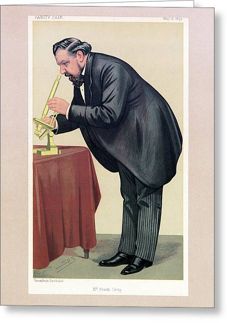 Cartoon Of Frank Crisp Greeting Card by Museum Of The History Of Science/oxford University Images