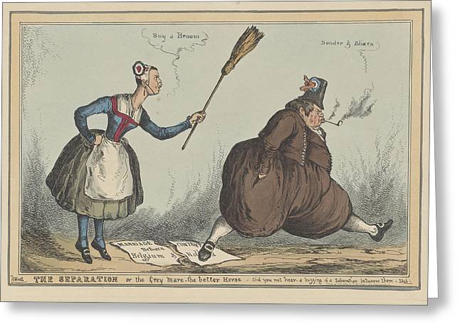 Cartoon On The Separation Between The Netherlands Greeting Card by William Heath And Thomas Mclean