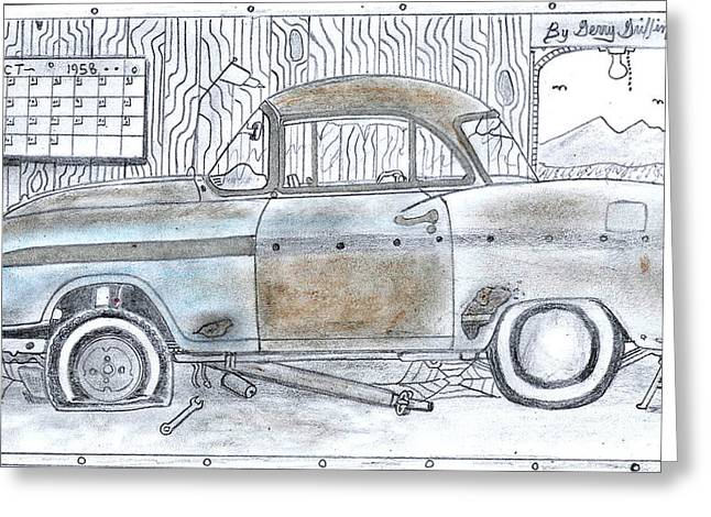 Cartoon Rustic Car  Greeting Card by Gerald Griffin