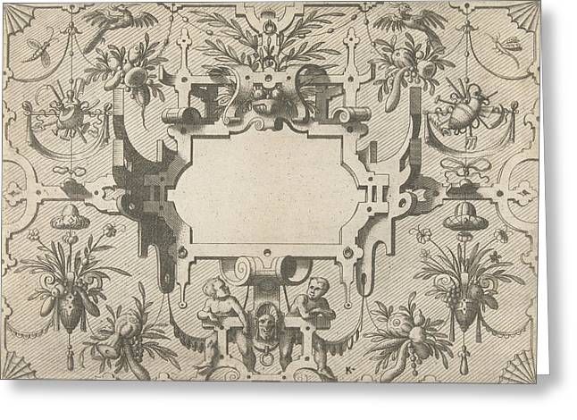 Cartouche Surrounded By Grotesques, Johannes Or Lucas Van Greeting Card