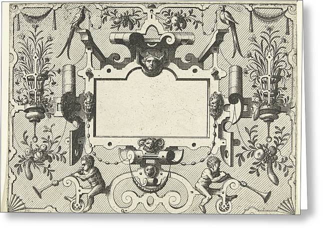 Cartouche Surrounded By Grotesques, With Left And Right Greeting Card by Johannes Or Lucas Van Doetechum And Hans Vredeman De Vries And Hieronymus Cock