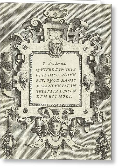 Cartouche With A Quote From Seneca, Frans Huys Greeting Card