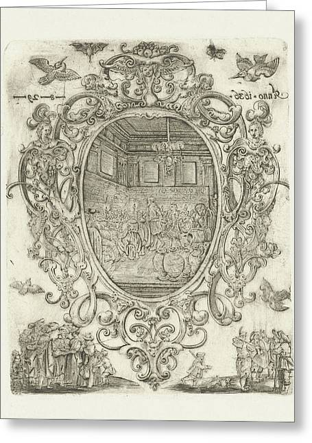 Cartouche With Heads, Cherubs And Masks, Hans Janssen Greeting Card