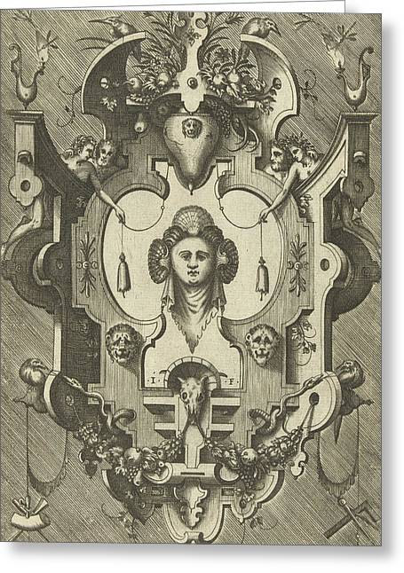 Cartouche With The Head Of A Woman Wearing Three Shells Greeting Card