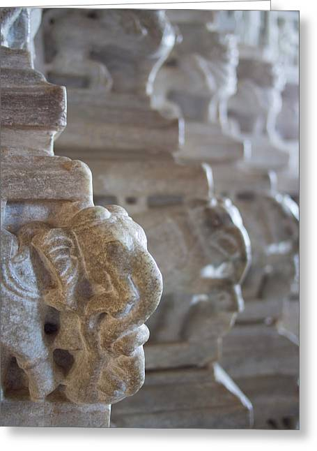 Carved Elephant Sculpture On Columns Greeting Card