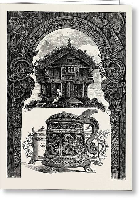 Carved Lintel, Stabbur And Tankards Greeting Card by English School