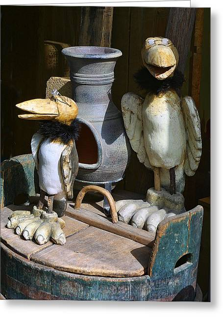 Carved Wooden Birds Greeting Card by Linda Phelps