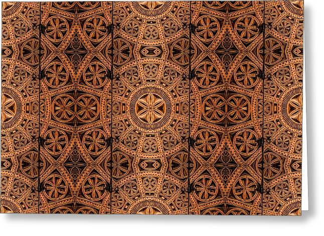 Carved Wooden Cabinet Symmetry Greeting Card