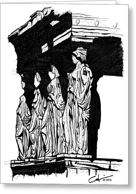 Greeting Card featuring the drawing Caryatids In High Contrast by Calvin Durham