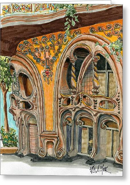 Casa Comolat Barcelona Spain Greeting Card by Paul Guyer