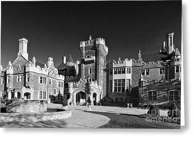 Casa Loma In Toronto In Black And White Greeting Card by Les Palenik