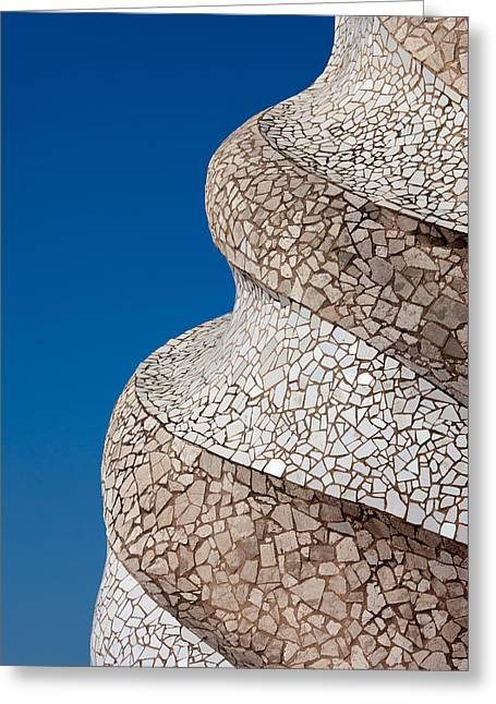 Casa Mila Abstract Chimney Detail In Barcelona Greeting Card