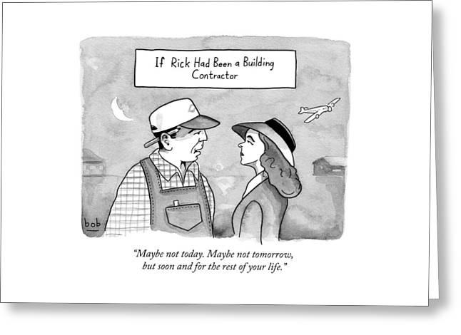 Casablanca Parody.  If Rick Was A Building Greeting Card