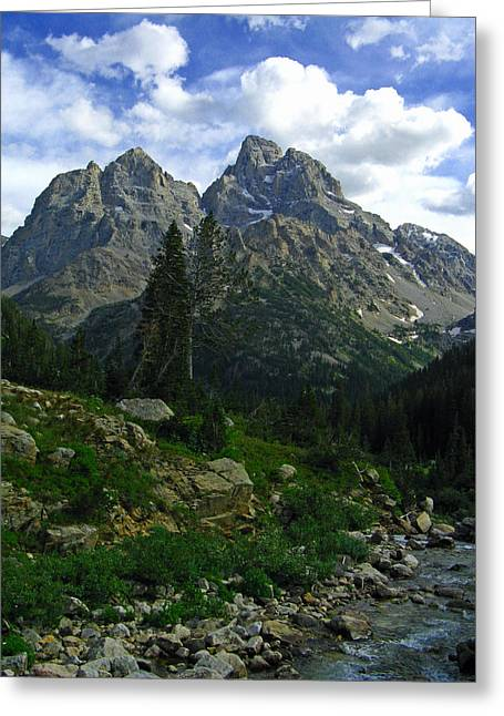Greeting Card featuring the photograph Cascade Creek The Grand Mount Owen by Raymond Salani III