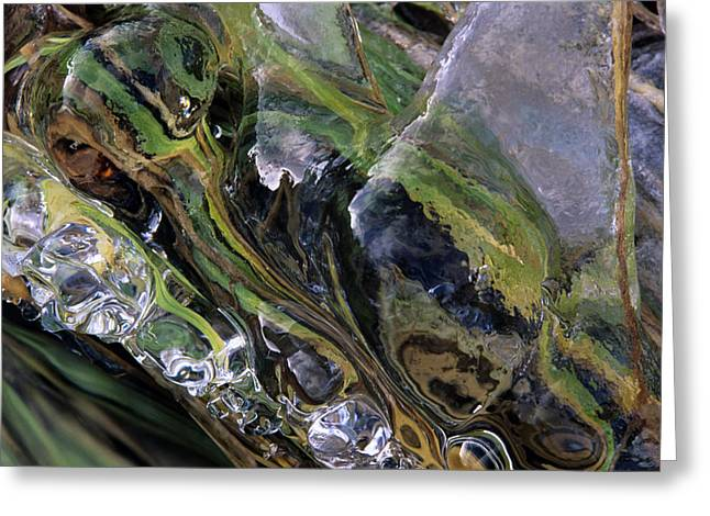 Cascade Of Ice Greeting Card by Don Johnston