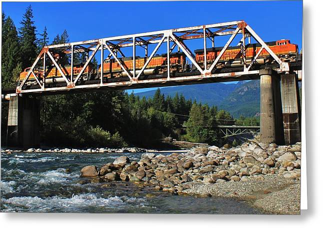 Cascades Rail Bridge Greeting Card by Benjamin Yeager