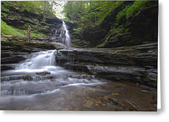Cascading Falls Greeting Card by Phil Abrams