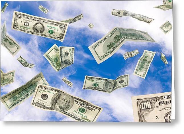 Cash Falling From The Sky Greeting Card
