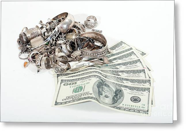 Cash For Sterling Silver Scrap Greeting Card by Gunter Nezhoda