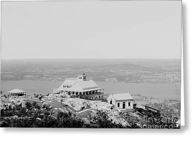 Casino At The Top Of Mt Beacon In Black And White Greeting Card