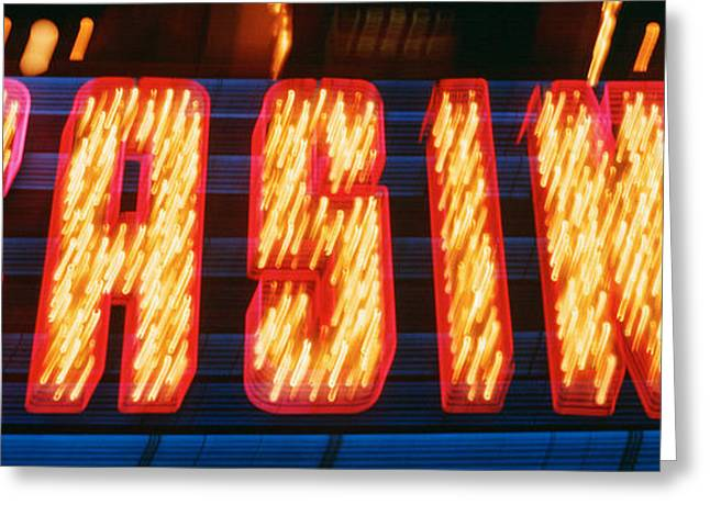 Casino Sign Las Vegas Nv Greeting Card by Panoramic Images