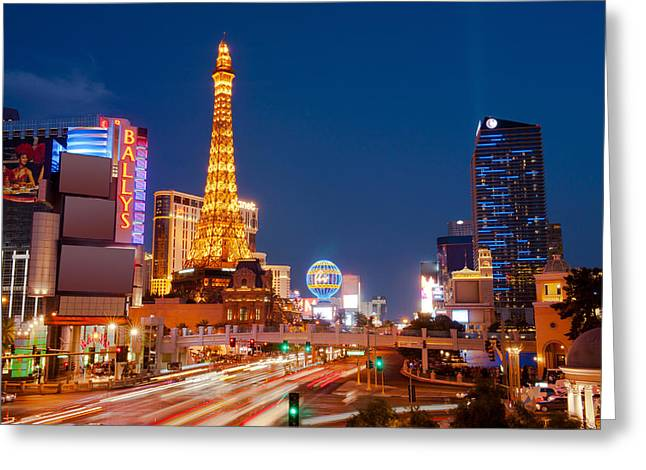 Casinos Along The Las Vegas Boulevard Greeting Card by Panoramic Images