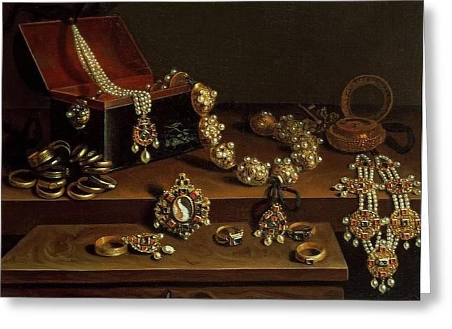 Casket Of Jewels On A Table, Principally Of German Origin 1600-50 Greeting Card by Pieter Gerritsz. van Roestraten