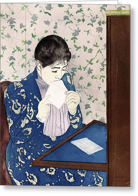 Cassatt The Letter, C1890 Greeting Card by Granger