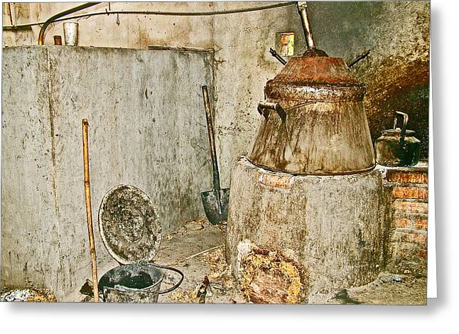 Cassava Root Winemaking Setup On Road To Tho Ha Village-vietnam Greeting Card by Ruth Hager