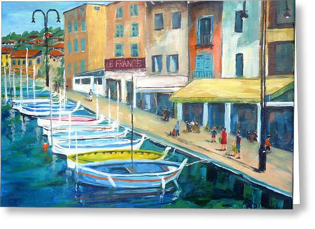 Cassis Waterfront Stroll Greeting Card by Diane Arlitt