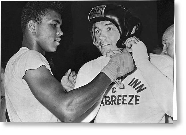 Cassius Clay And Johansson Greeting Card by Underwood Archives