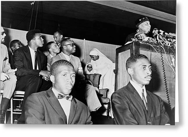 Cassius Clay Listening To Elijah Muhammad 1964 Greeting Card by Mountain Dreams
