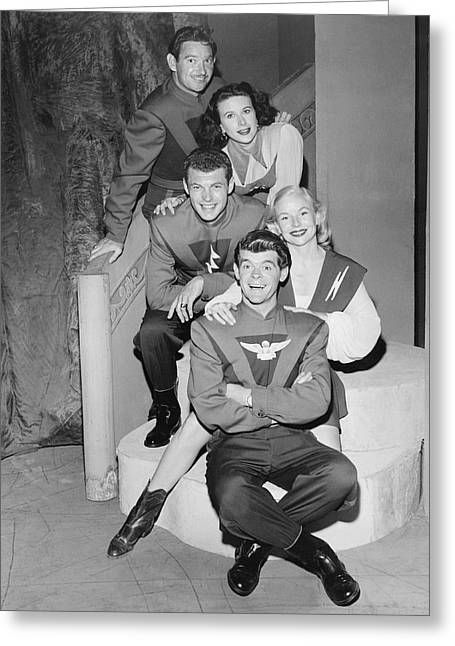Cast Of Space Patrol Greeting Card by Underwood Archives