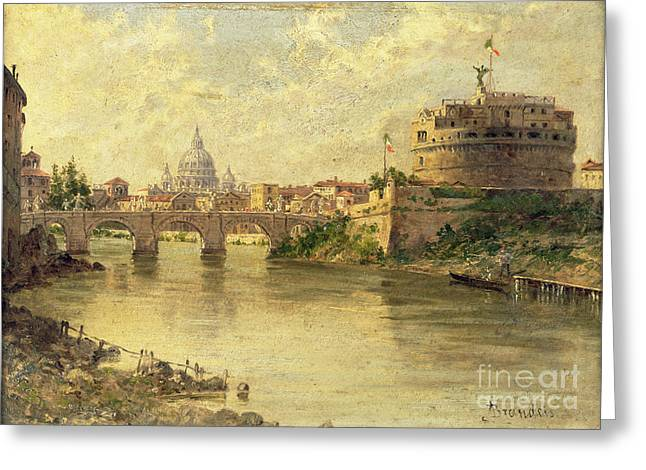 Castel Sant Angelo And St. Peters From The Tiber Greeting Card