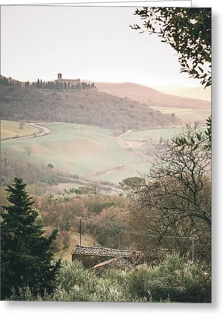 Castelmuzio Sunset Greeting Card by Clint Brewer