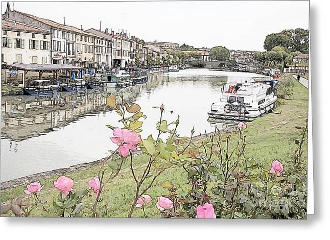 Castelnaudary At The Canal Du Midi Greeting Card by Heiko Koehrer-Wagner