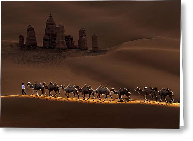 Castle And Camels Greeting Card by Mei Xu