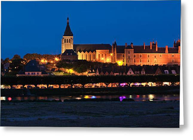 Castle And Loire Bridge Lit Greeting Card by Panoramic Images